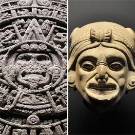 Esquerda: pedra Asteca do Sol. Direita: estátua Maia.