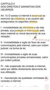 Marco Civil da Internet: dados pessoais.